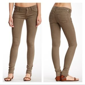 Mother The Looker Skinny Jeans Olive Green Sz 28